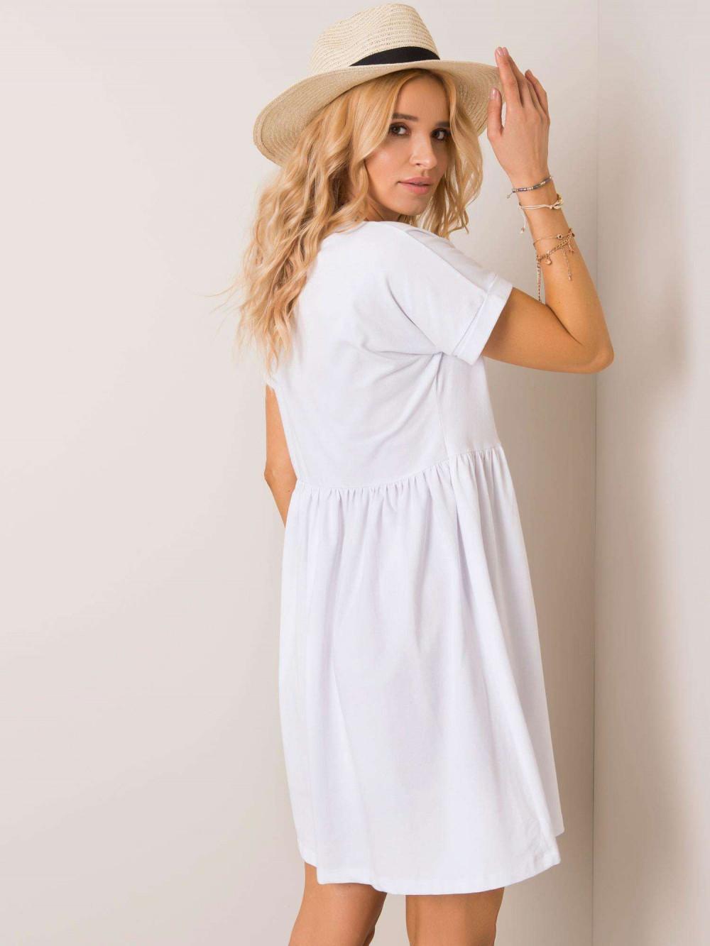 Biała sukienka rozkloszowana O-Neck Peoria 3