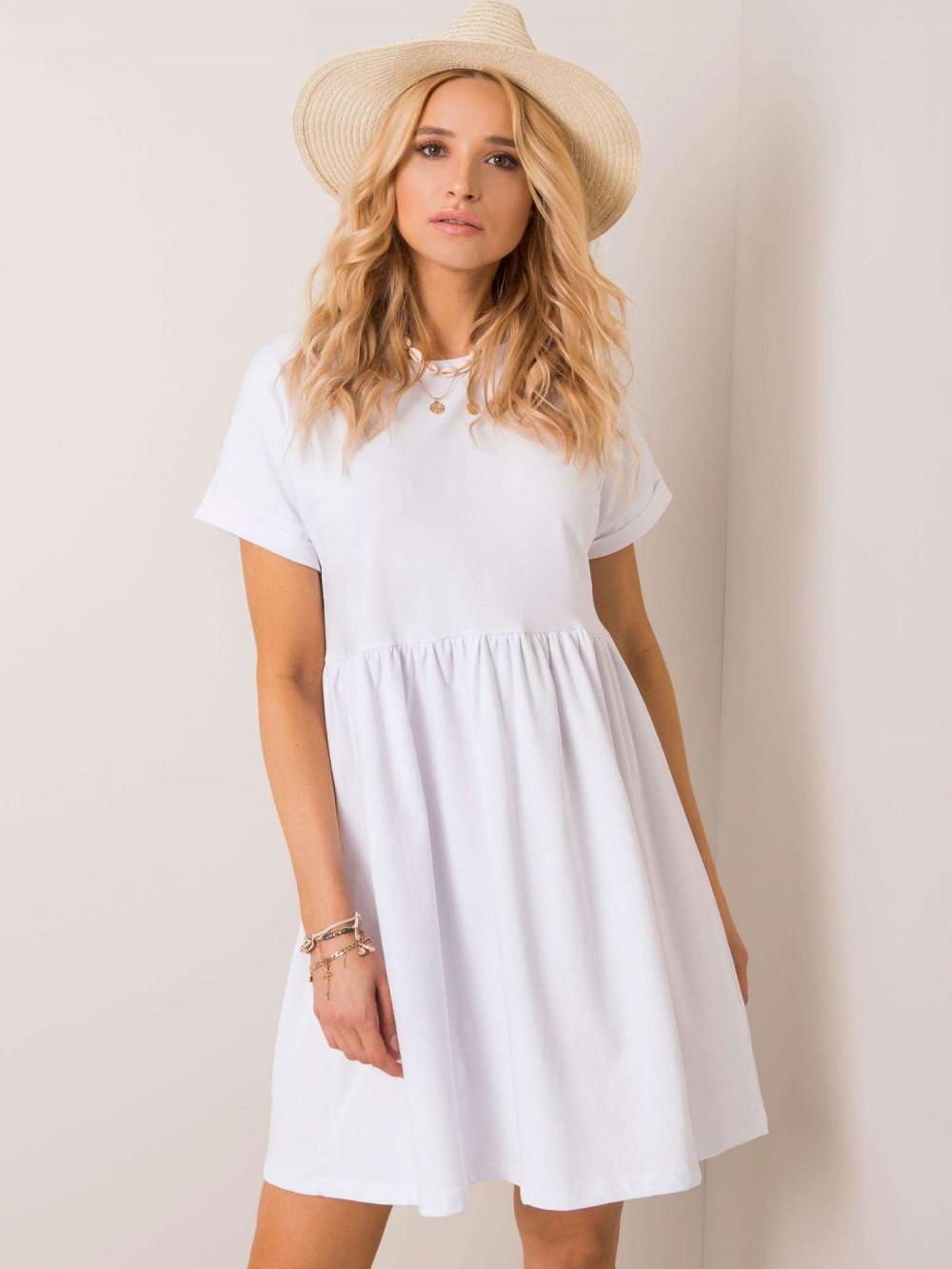 Biała sukienka rozkloszowana O-Neck Peoria 1