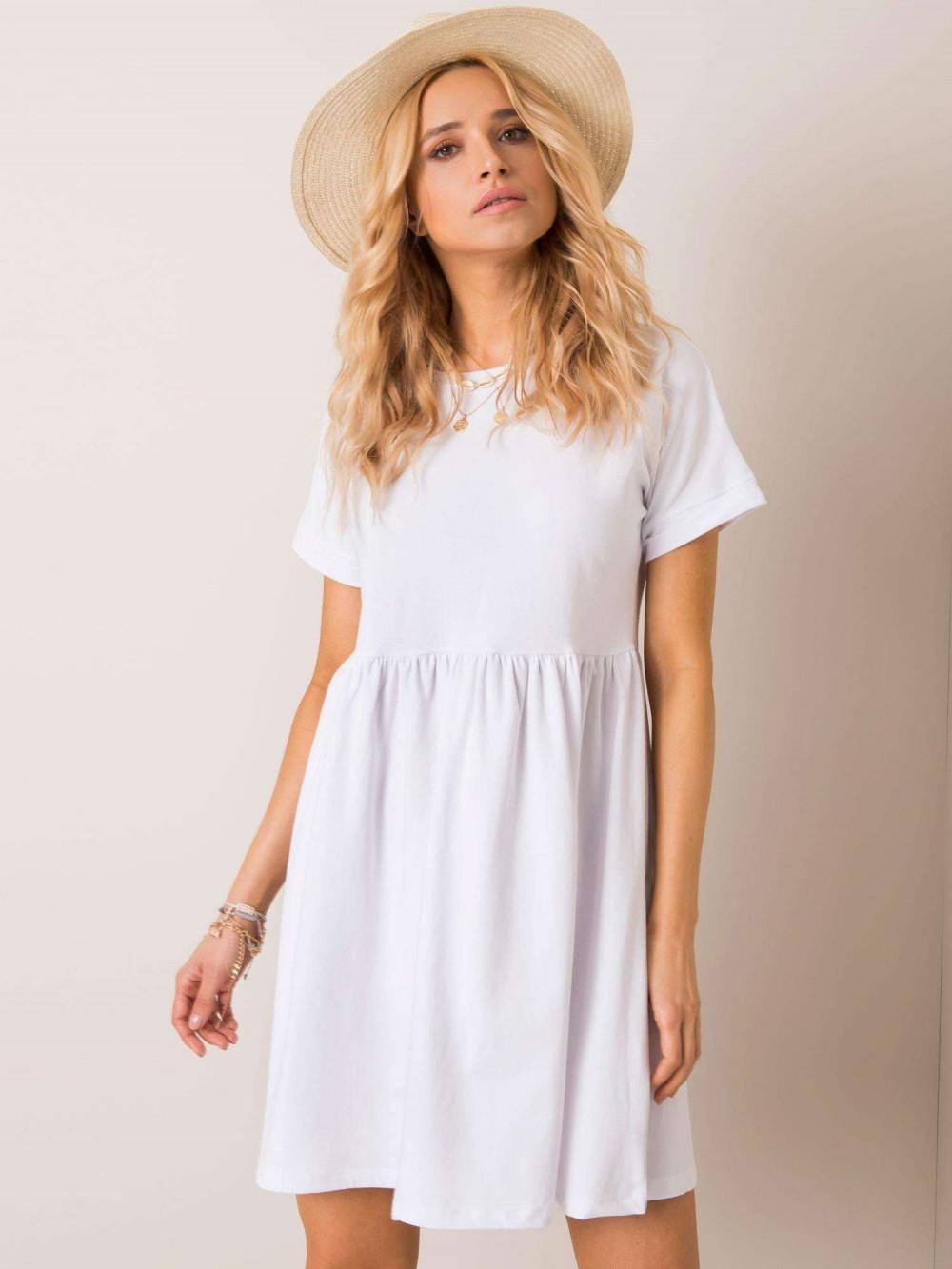 Biała sukienka rozkloszowana O-Neck Peoria 2