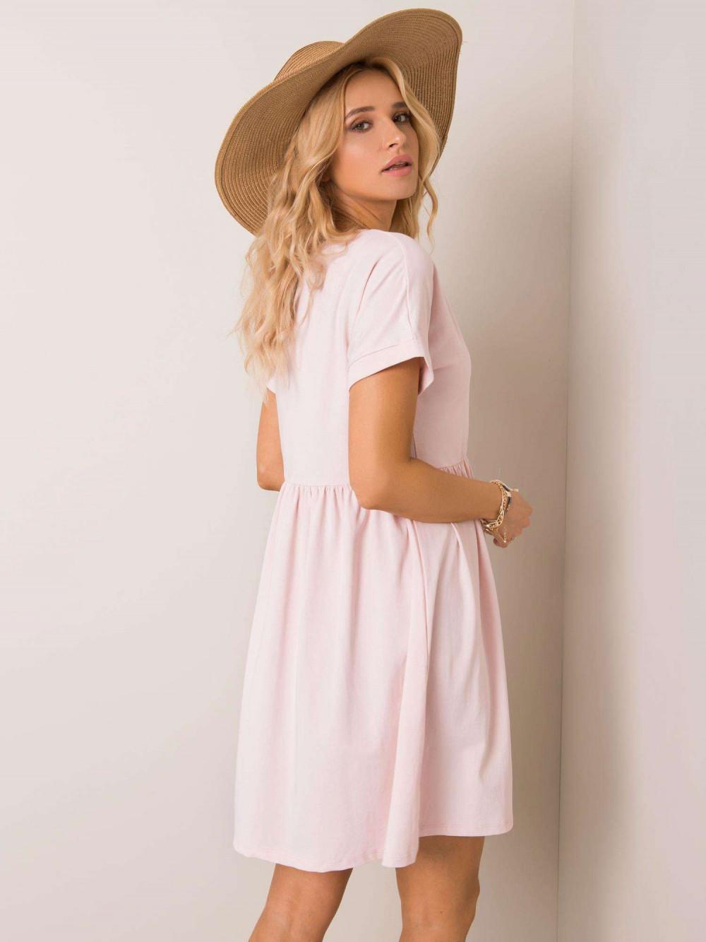 Jasnoróżowa sukienka rozkloszowana O-Neck Peoria 3