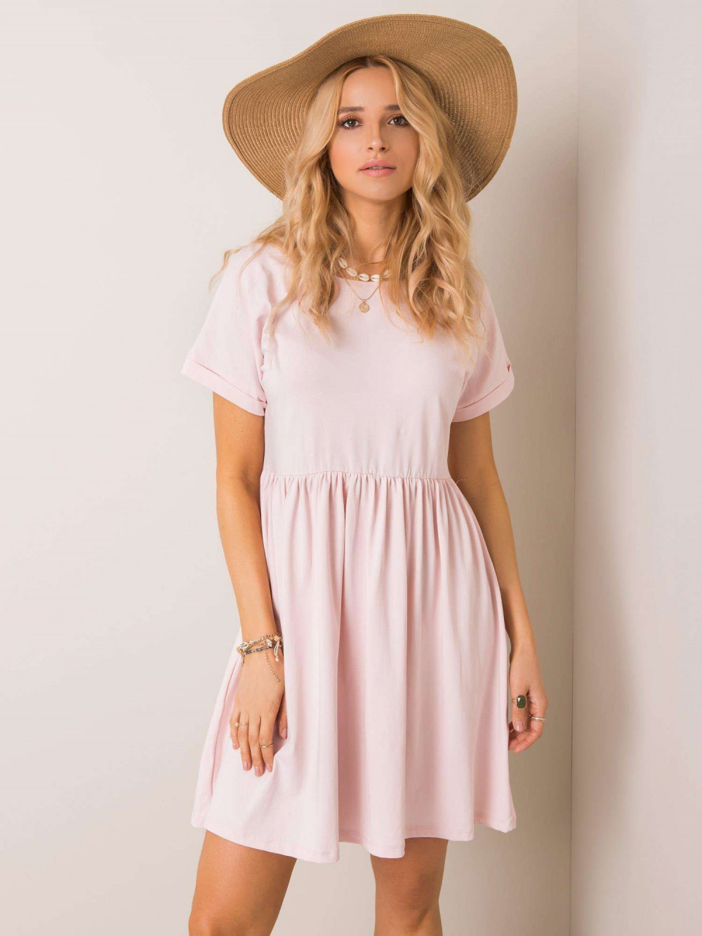 Jasnoróżowa sukienka rozkloszowana O-Neck Peoria 1