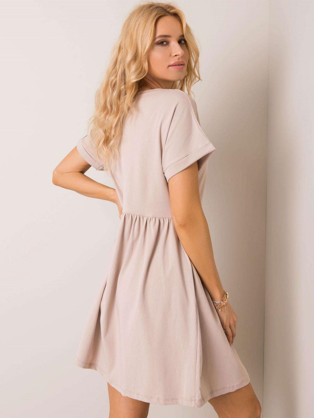 Beżowa sukienka rozkloszowana O-Neck Peoria 3