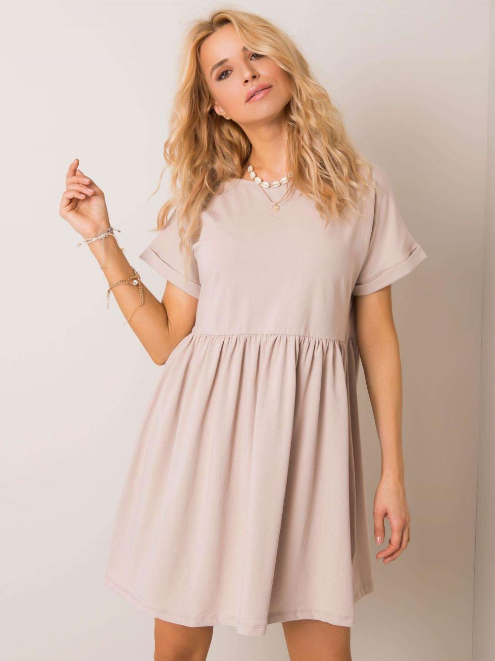 Beżowa sukienka rozkloszowana O-Neck Peoria 2