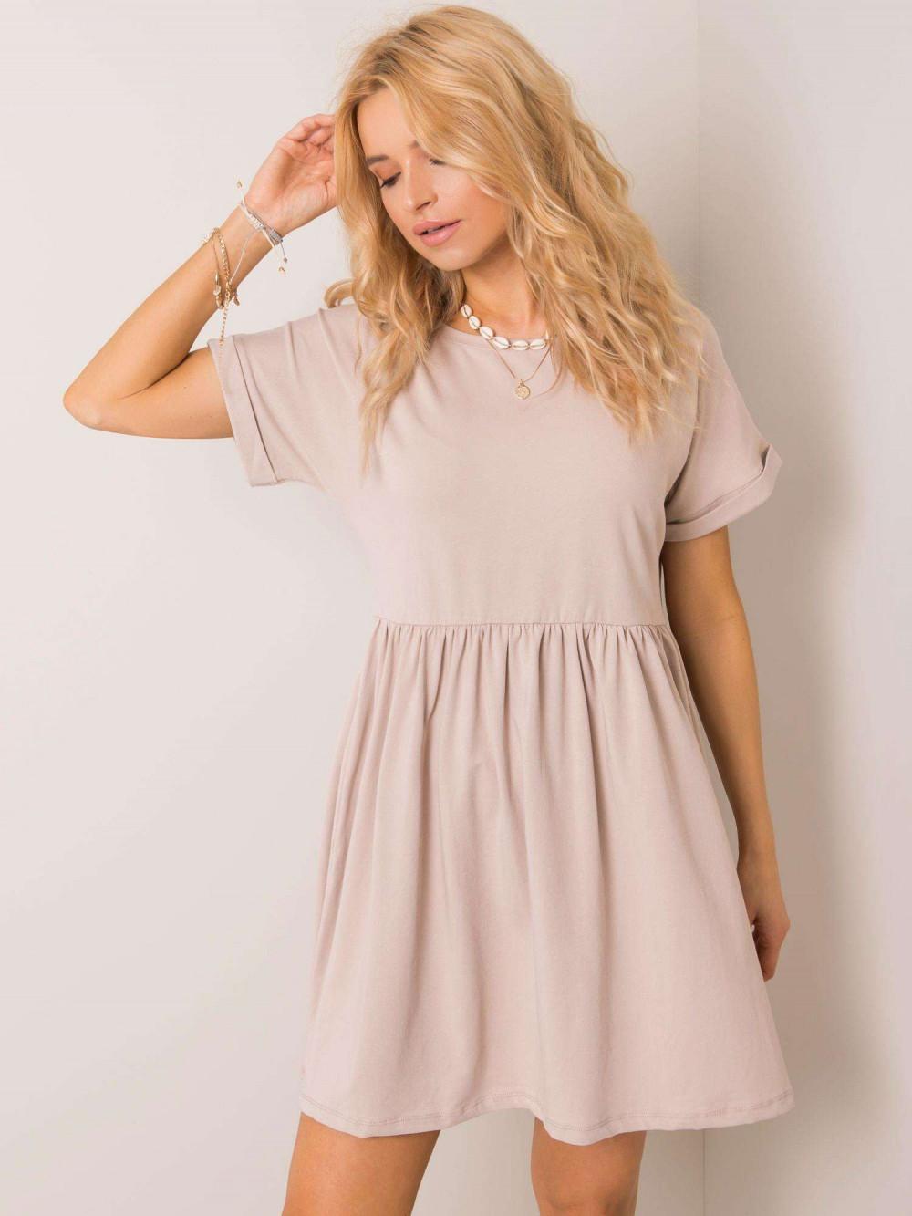 Beżowa sukienka rozkloszowana O-Neck Peoria 1