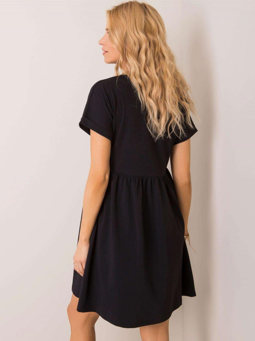 Czarna sukienka rozkloszowana O-Neck Peoria 2