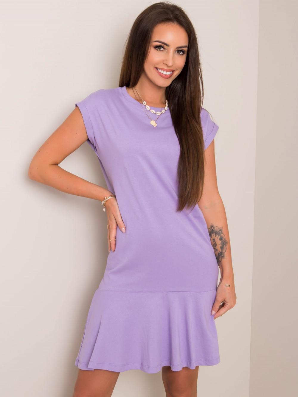 Fioletowa sukienka bawełniana z falbanką Josan 1