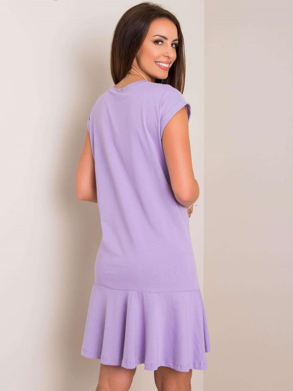 Fioletowa sukienka bawełniana z falbanką Josan 2