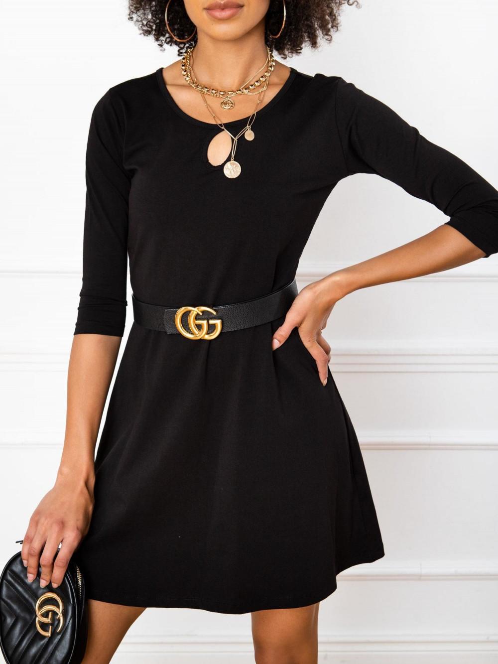 Czarna sukienka rozkloszowana z ozdobnym dekoltem Phoenix 2