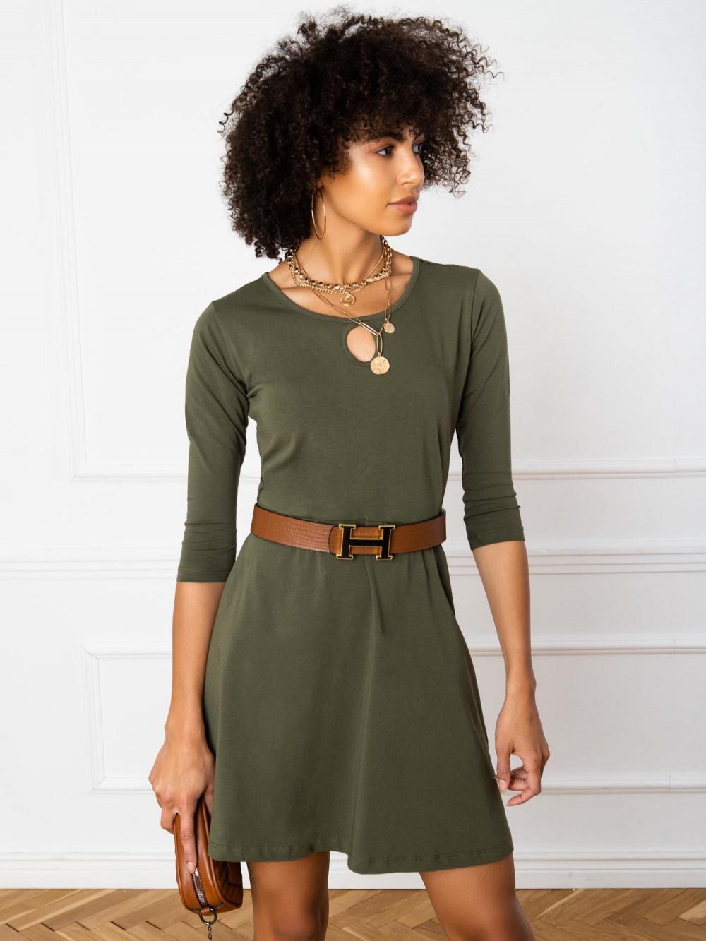 Khaki sukienka rozkloszowana z ozdobnym dekoltem Phoenix 1