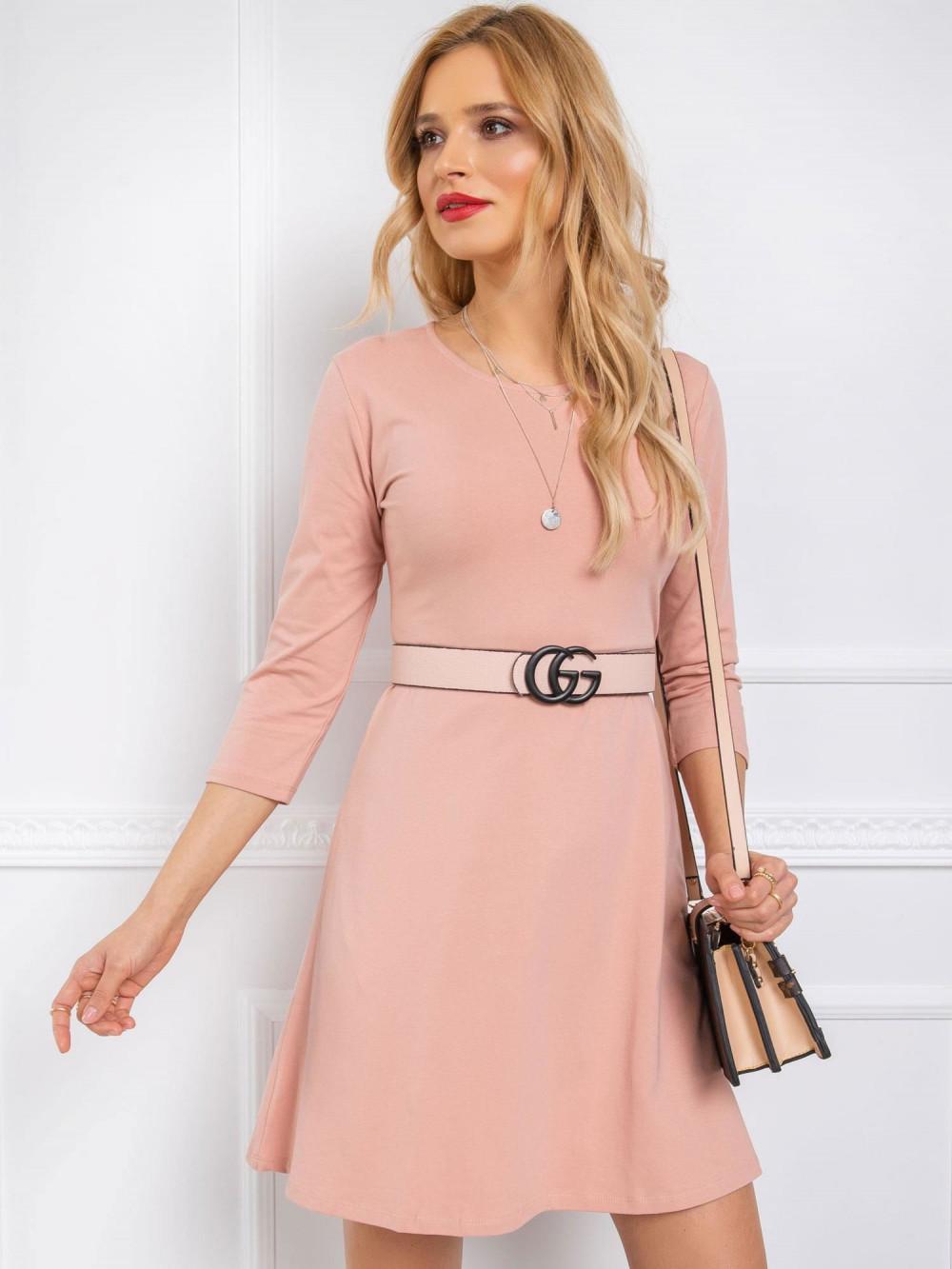Różowa sukienka rozkloszowana z wycięciem na plecach Edison 3