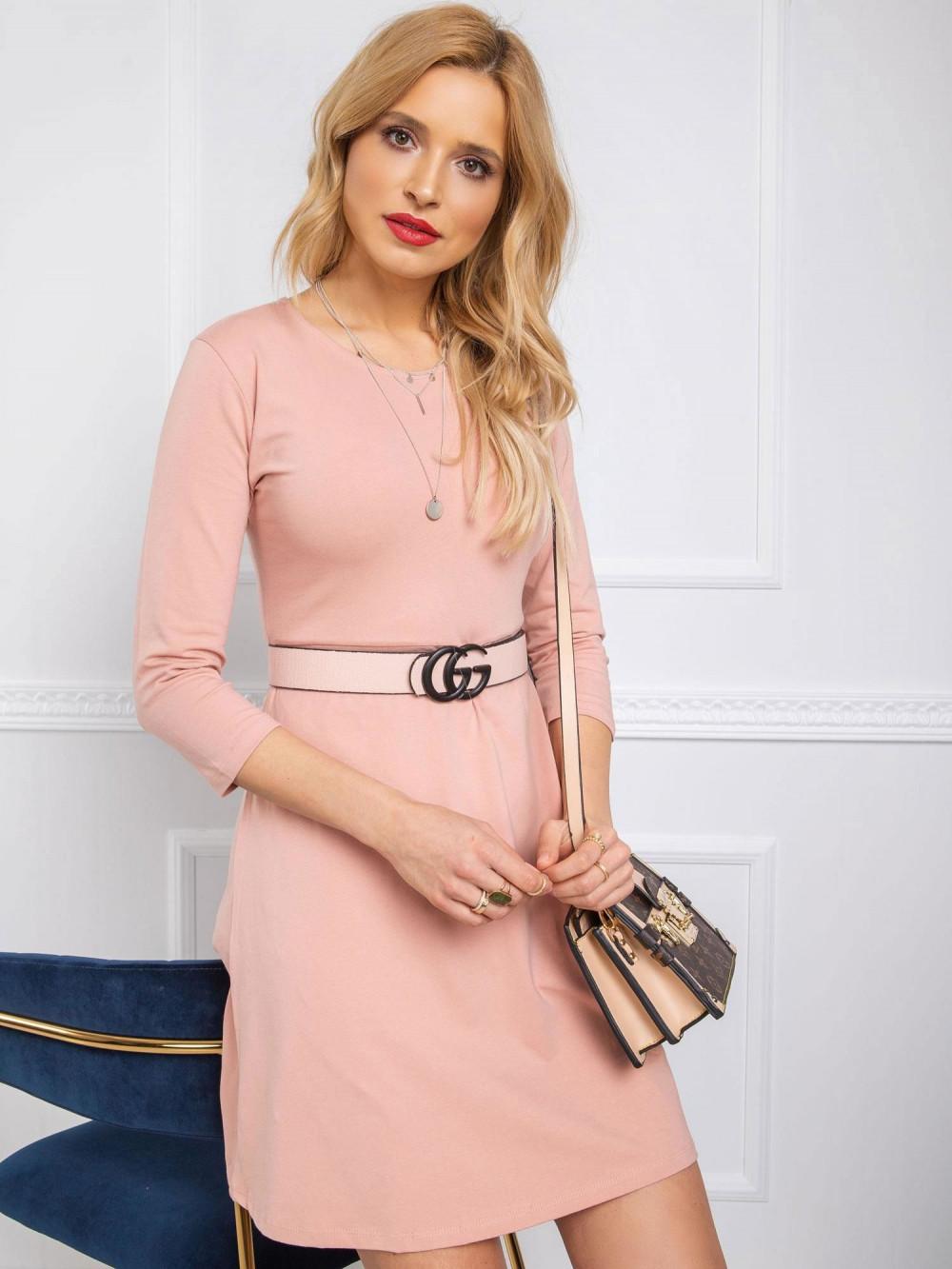 Różowa sukienka rozkloszowana z wycięciem na plecach Edison 1