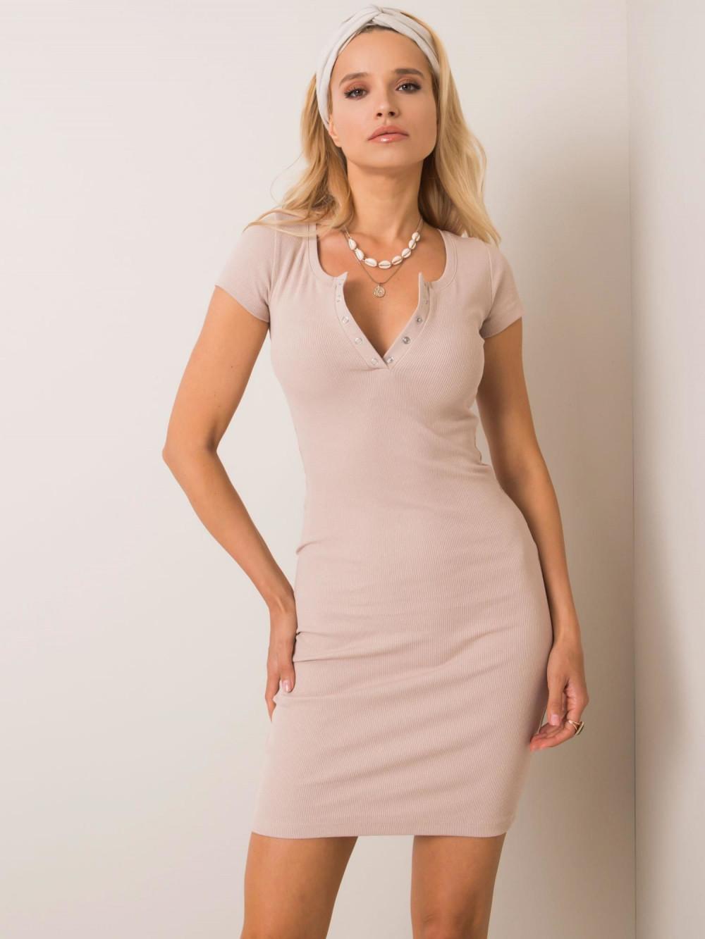 Beżowa dopasowana sukienka z krótkim rękawem Ally 1