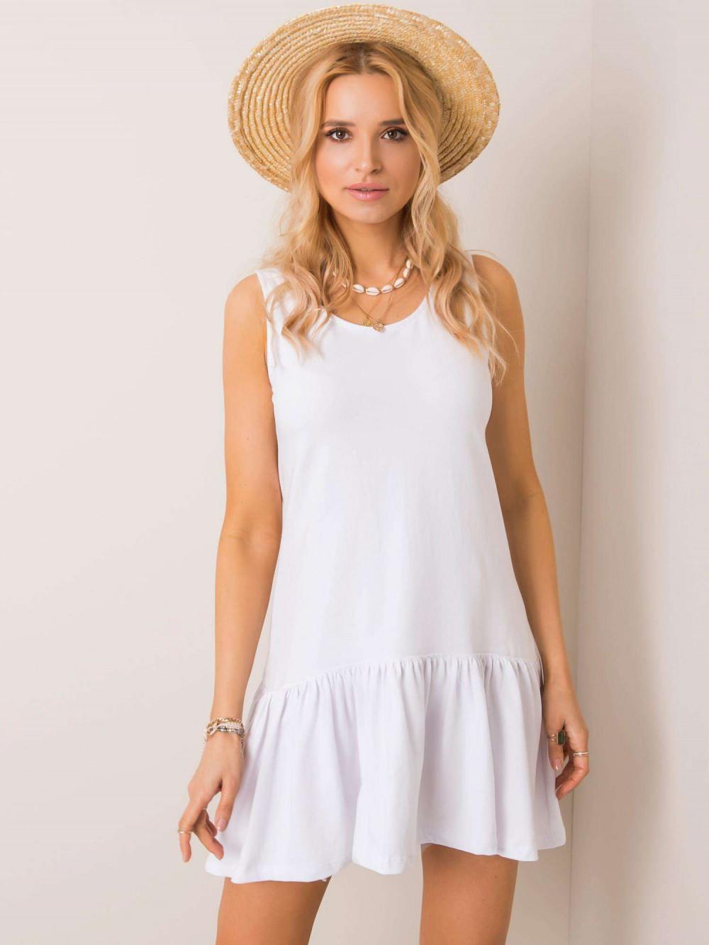 Biała sukienka bez rękawów z falbanką Saint 1