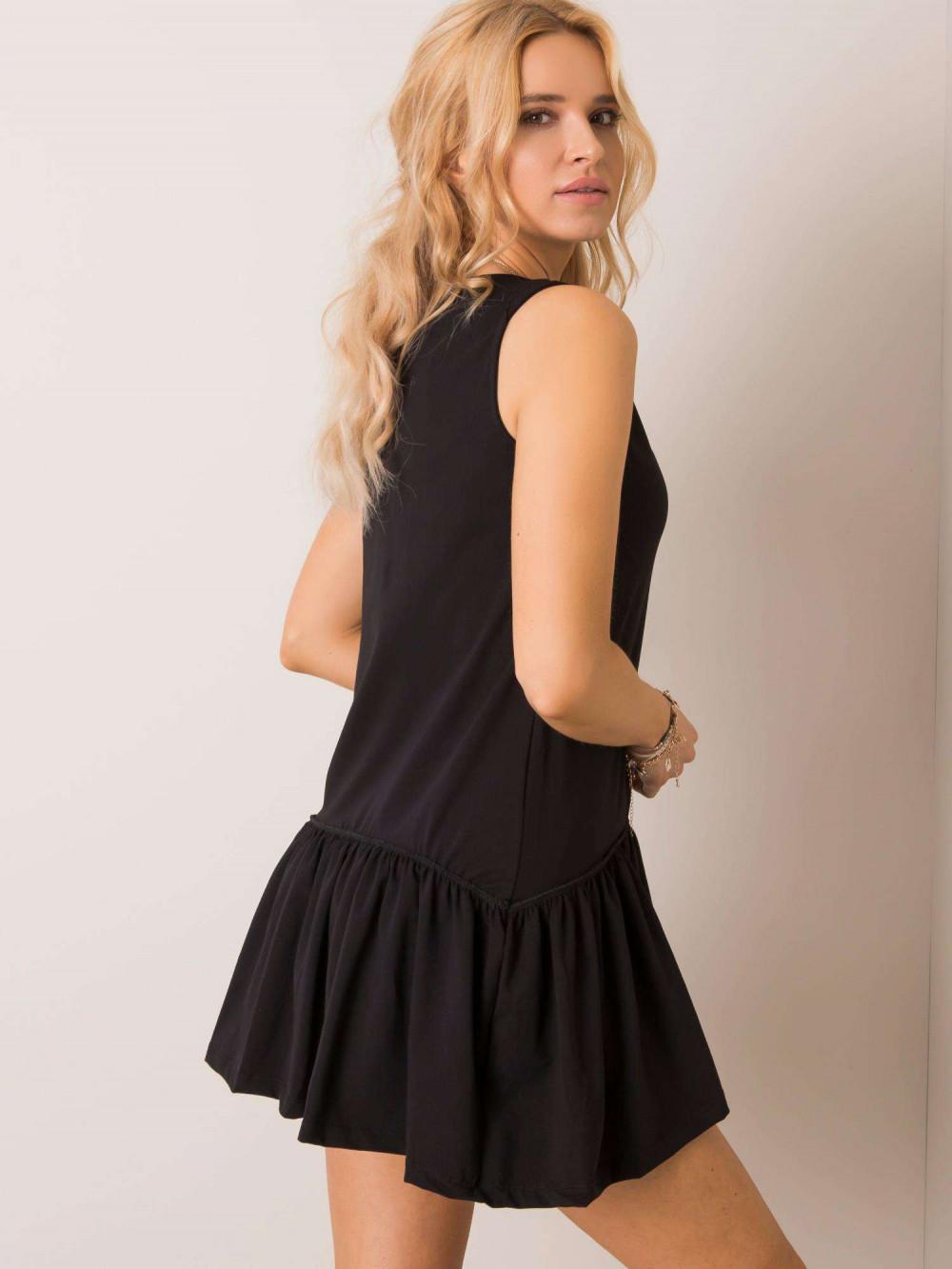 Czarna sukienka bez rękawów z falbanką Saint 2