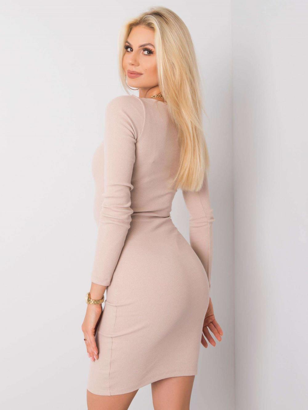 Jasnobeżowa dopasowana sukienka O-Neck Acera 3