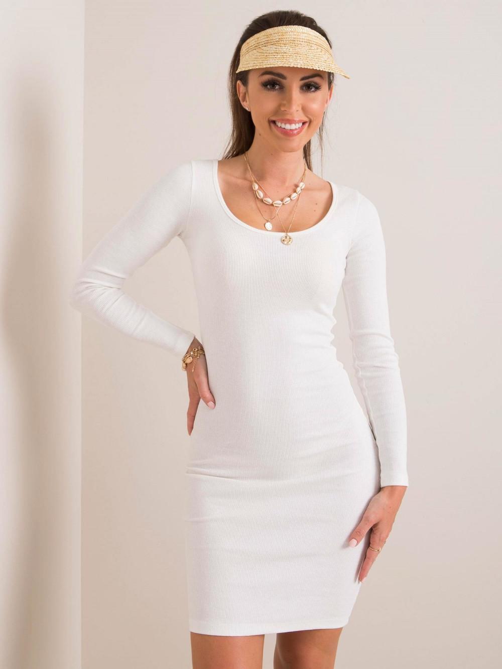 Ecru dopasowana sukienka O-Neck Acera 1