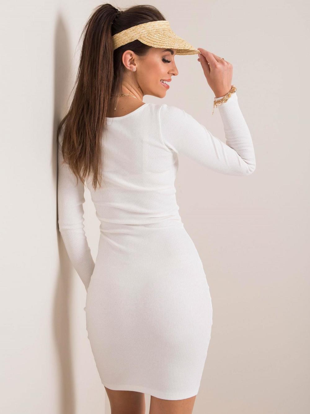 Ecru dopasowana sukienka O-Neck Acera 2