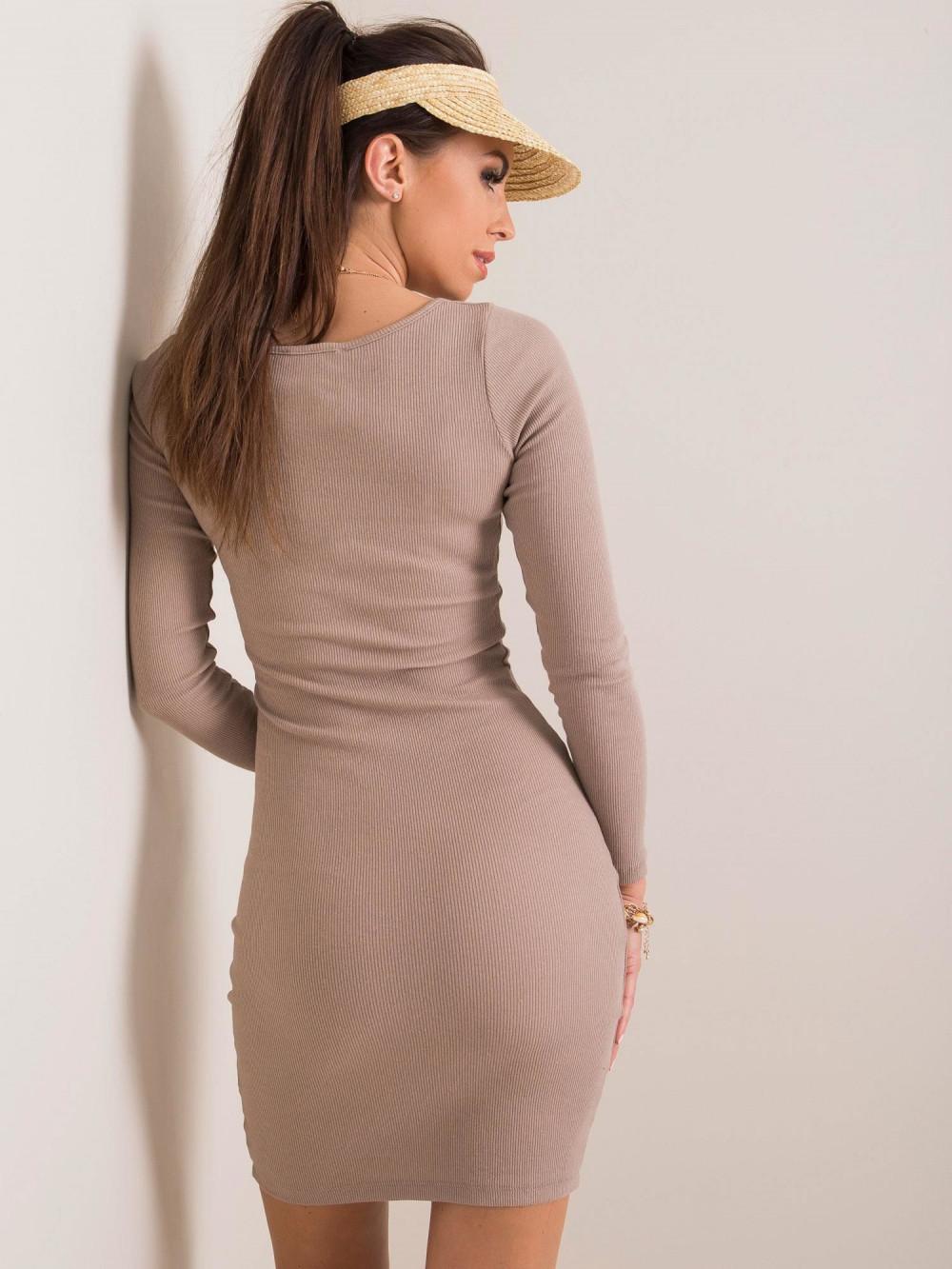 Ciemnobeżowa dopasowana sukienka O-Neck Acera 2