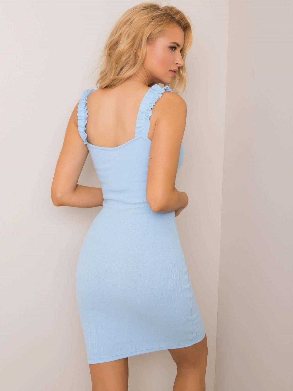 Jasnoniebieska dopasowana sukienka z falbankami na ramiączkach Firenze 2