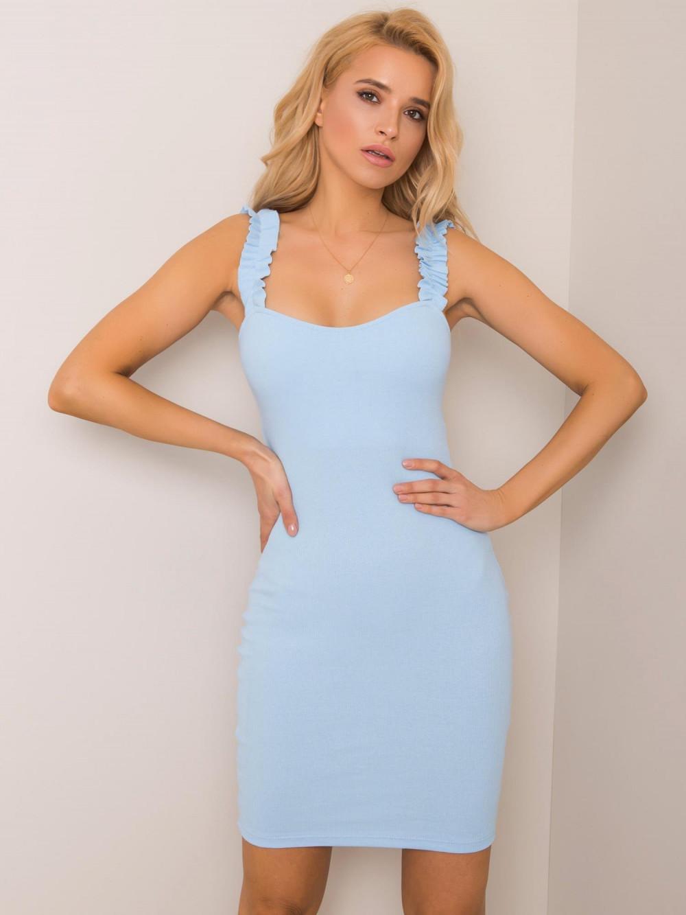 Jasnoniebieska dopasowana sukienka z falbankami na ramiączkach Firenze 1