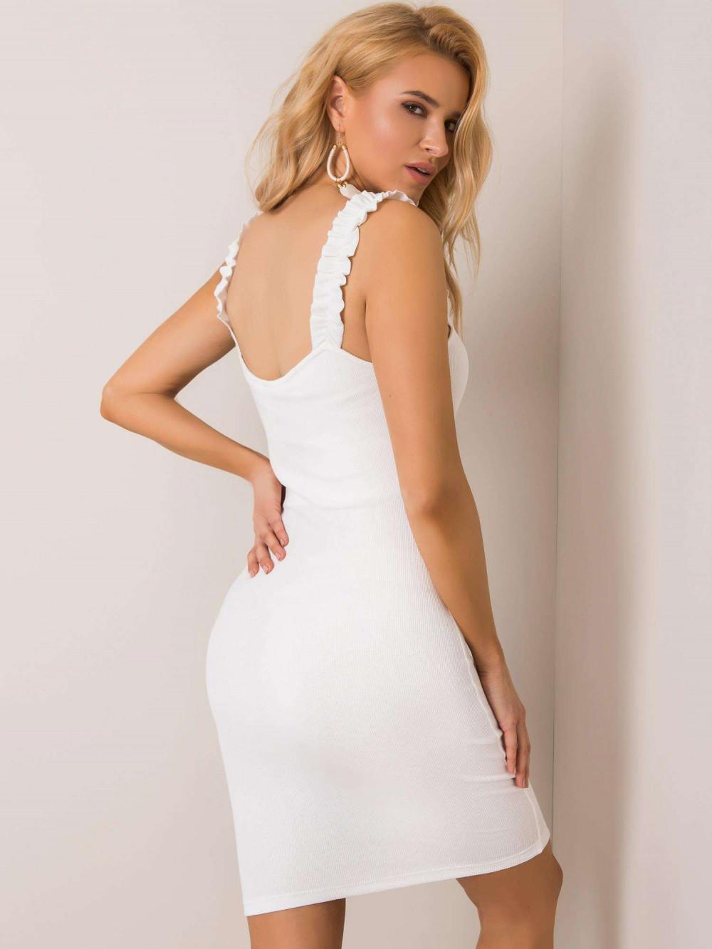 Ecru dopasowana sukienka z falbankami na ramiączkach Firenze 2