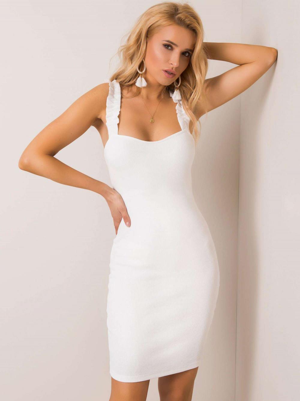 Ecru dopasowana sukienka z falbankami na ramiączkach Firenze 1