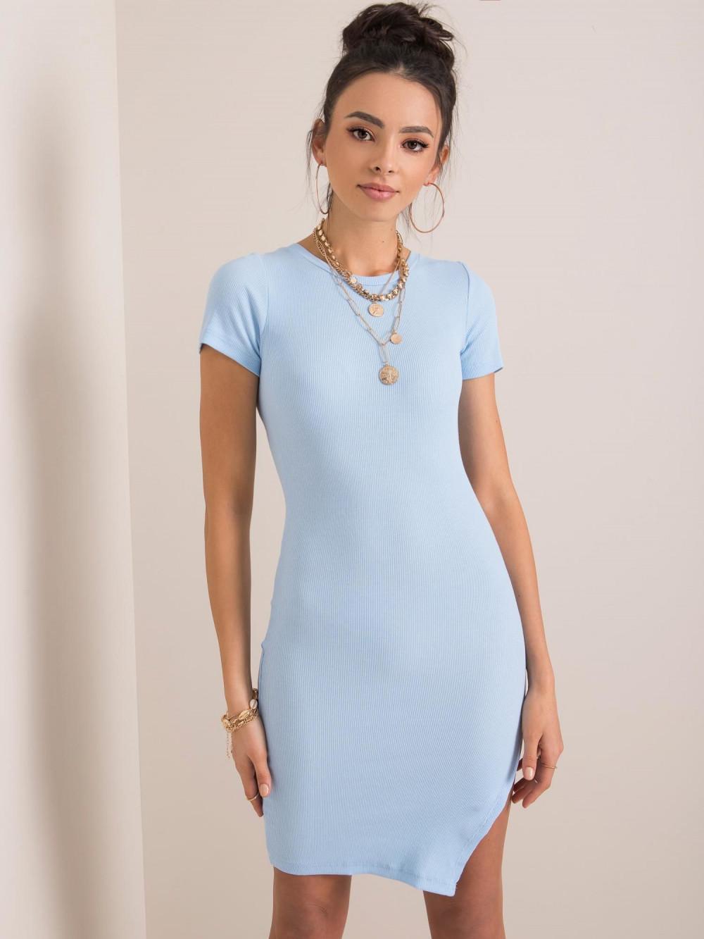 Jasnoniebieska sukienka z wycięciem na nodze Monza 2
