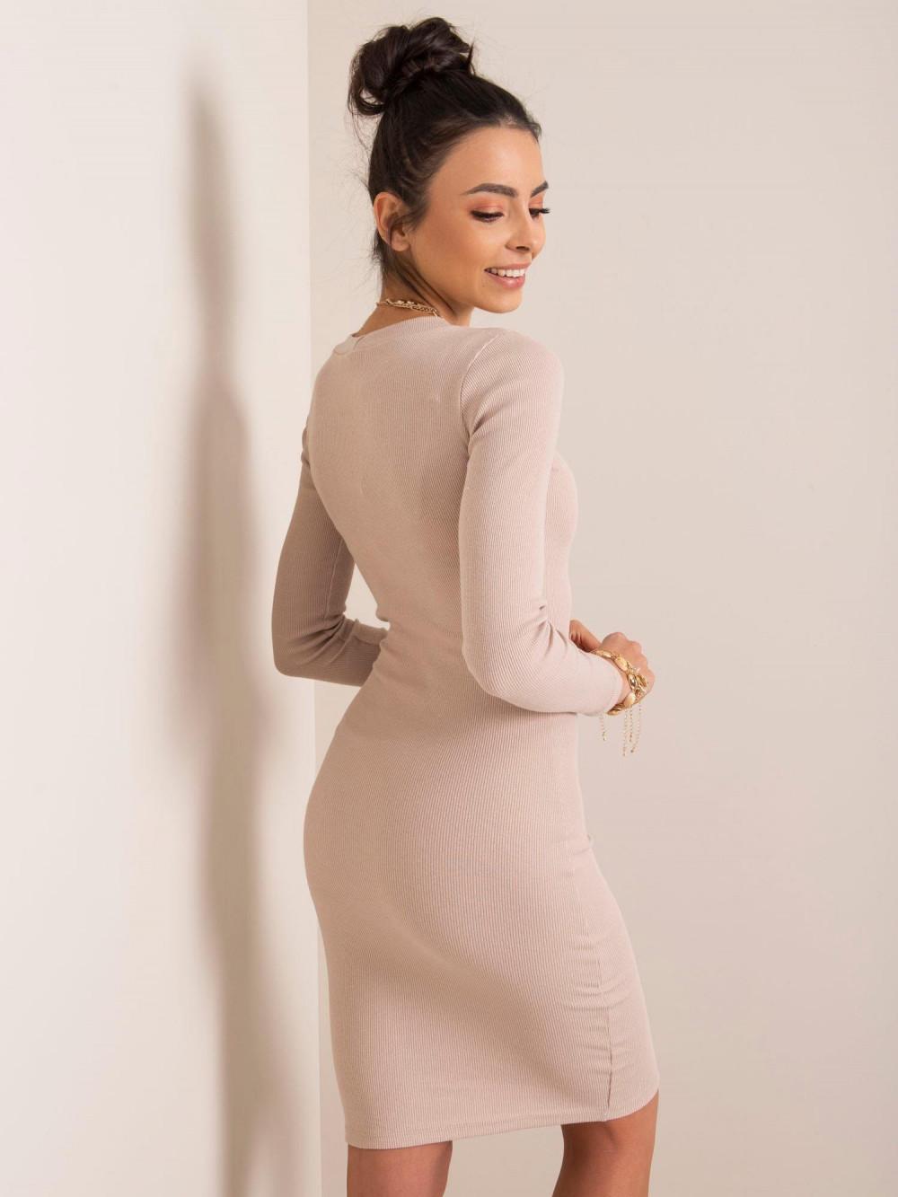 Beżowa dopasowana sukienka O-Neck Lisburn 2