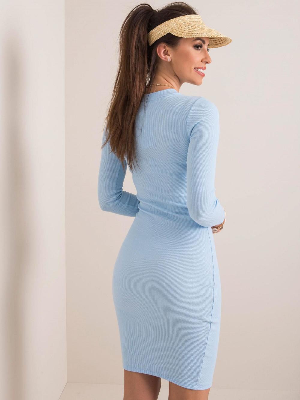 Jasnoniebieska dopasowana sukienka O-Neck Lisburn 2