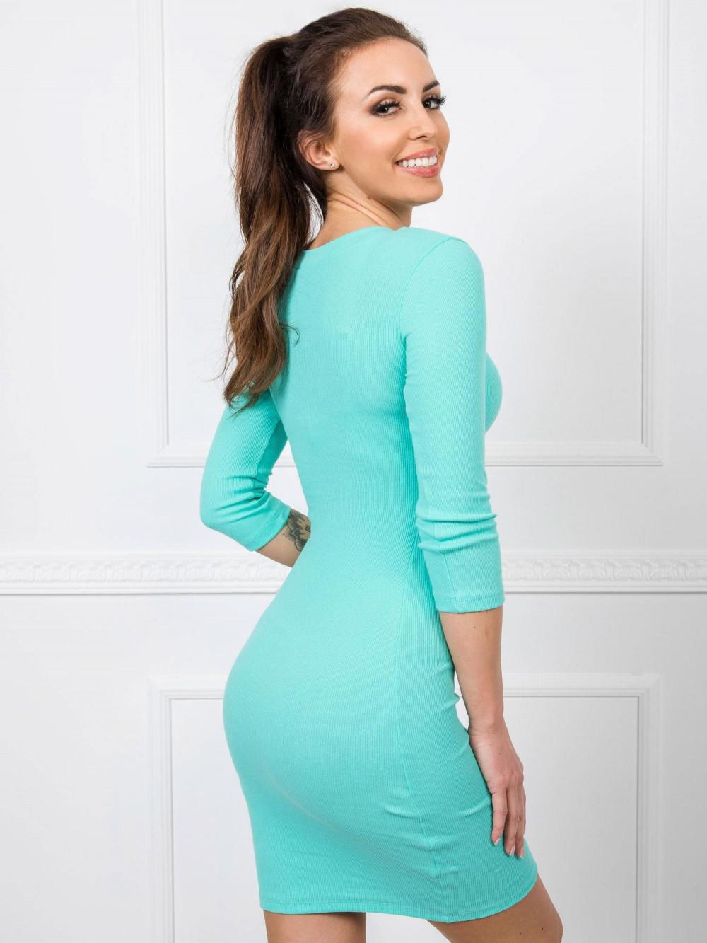 Turkusowa dopasowana sukienka V-Neck Paisley 2