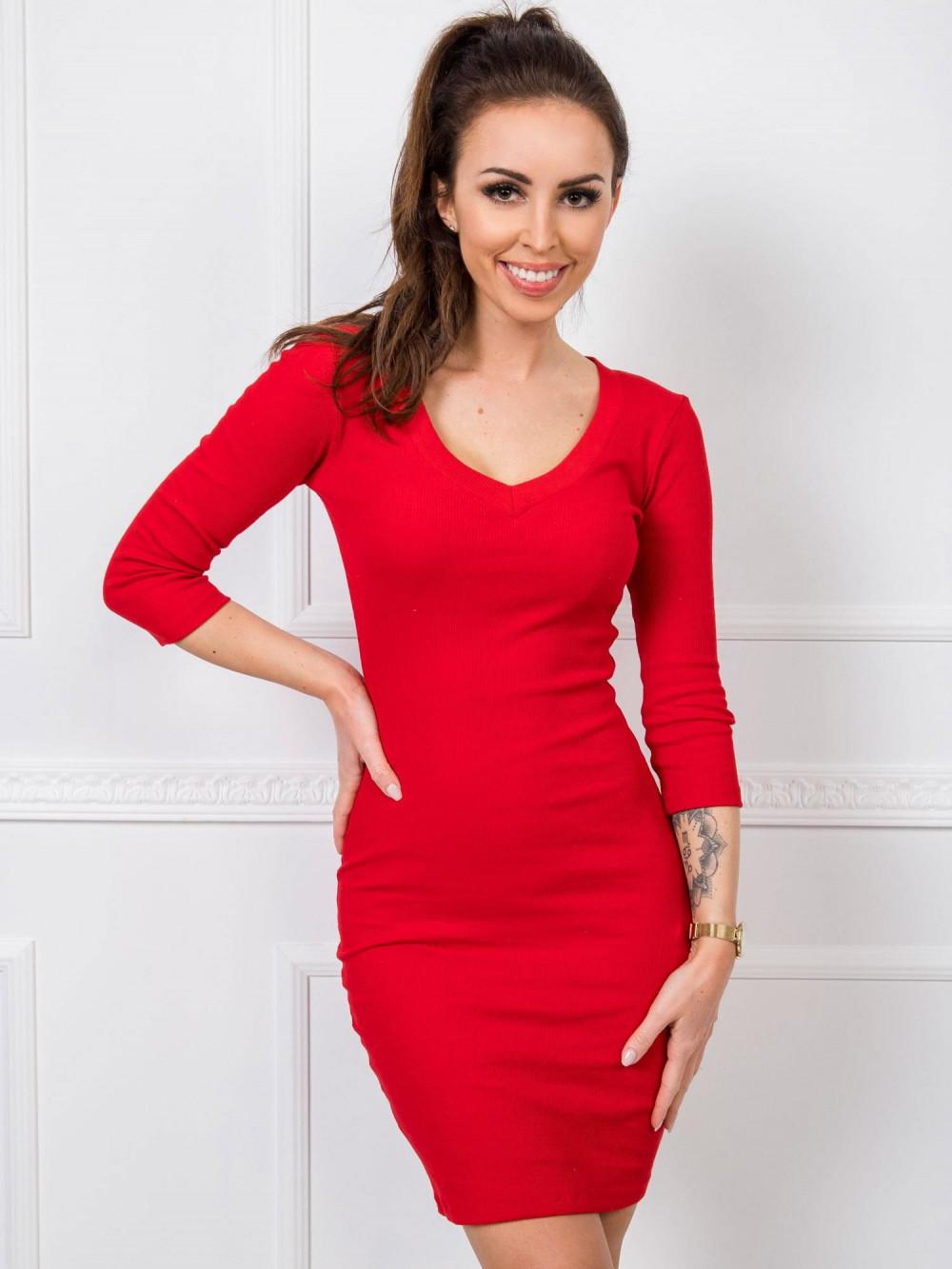 Czerwona dopasowana sukienka V-Neck Paisley 1