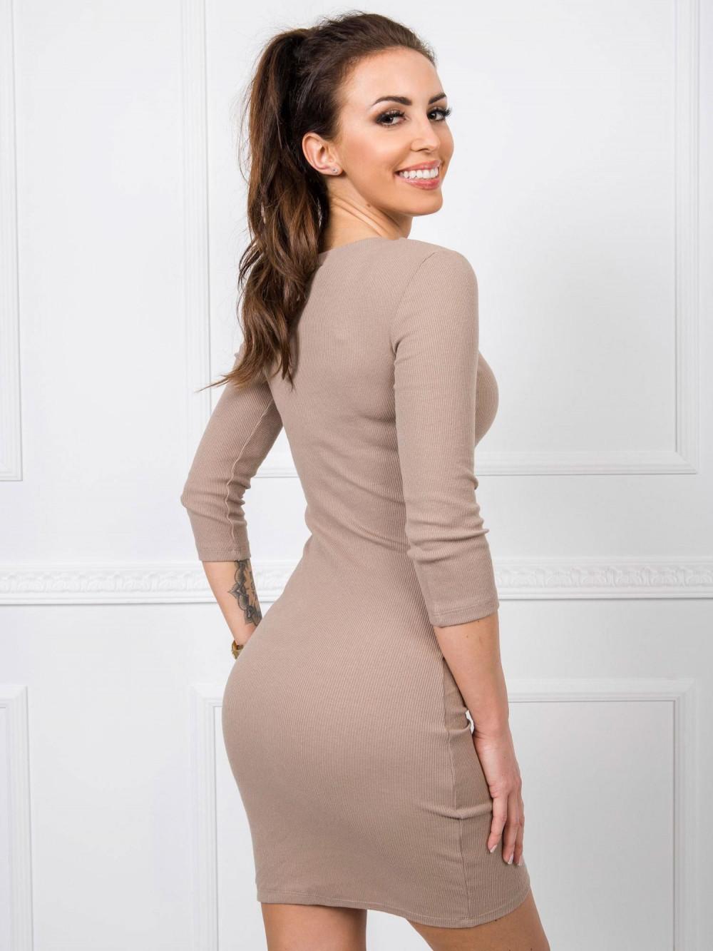 Beżowa dopasowana sukienka V-Neck Paisley 2