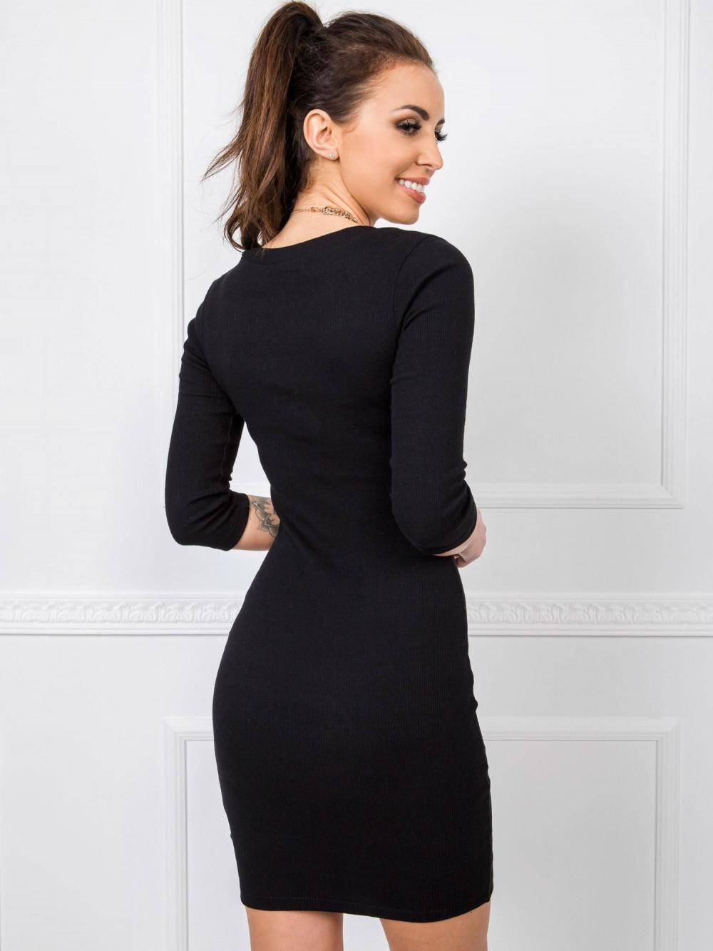 Czarna dopasowana sukienka V-Neck Paisley 2