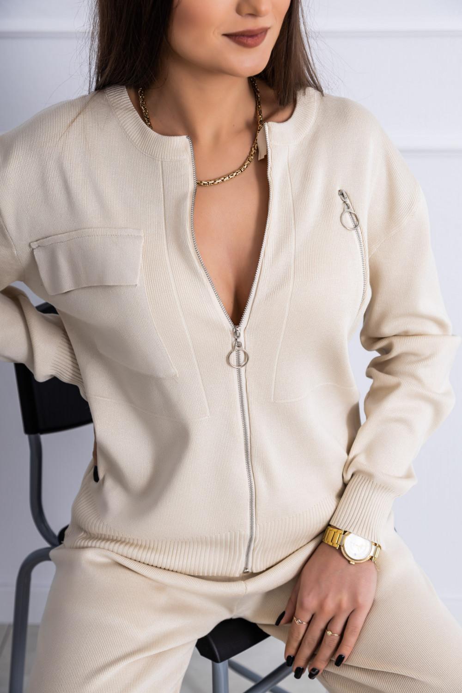 Beżowy komplet damski z rozpinaną bluzą Belen 2