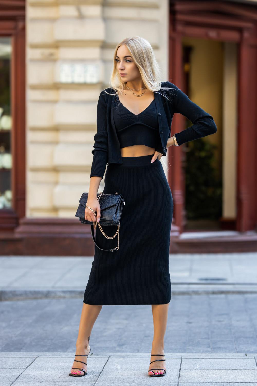 Czarny trzyczęściowy komplet z spódnicą Montse 2