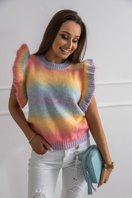 Kolorowy sweter z falbankami bez rękawów Gessa 2