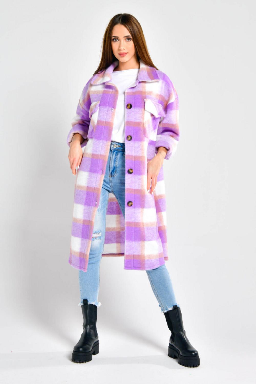 Fioletowa długa koszula płaszcz Klaren 3