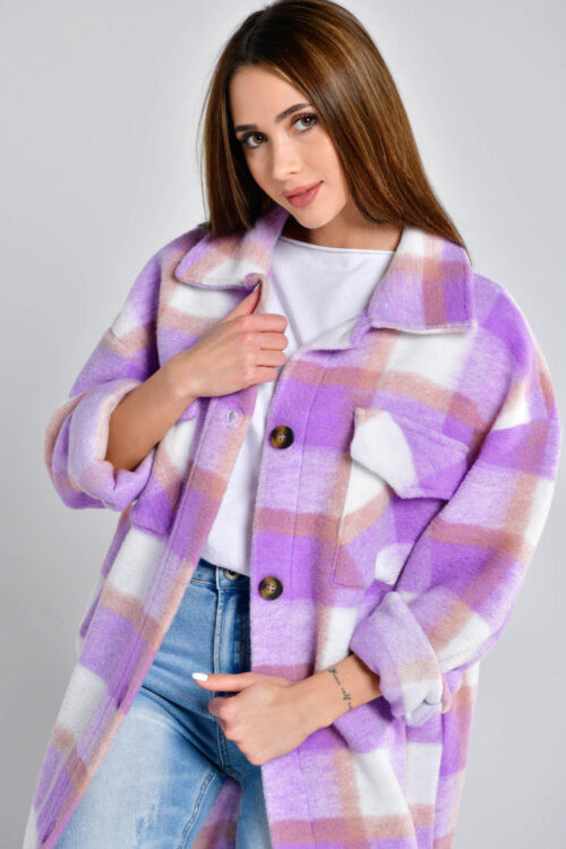 Fioletowa długa koszula płaszcz Klaren 2