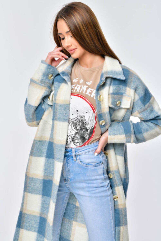 Niebieska długa koszula płaszcz Klaren 2