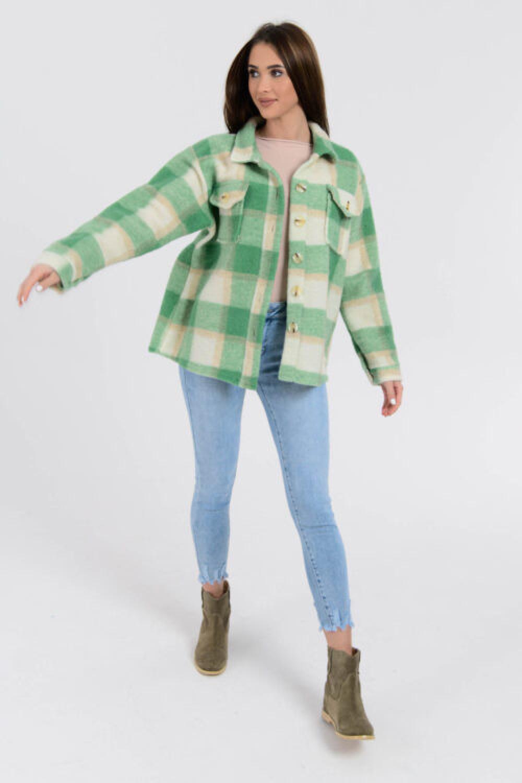Zielona koszula płaszczyk w kratkę Paront 4