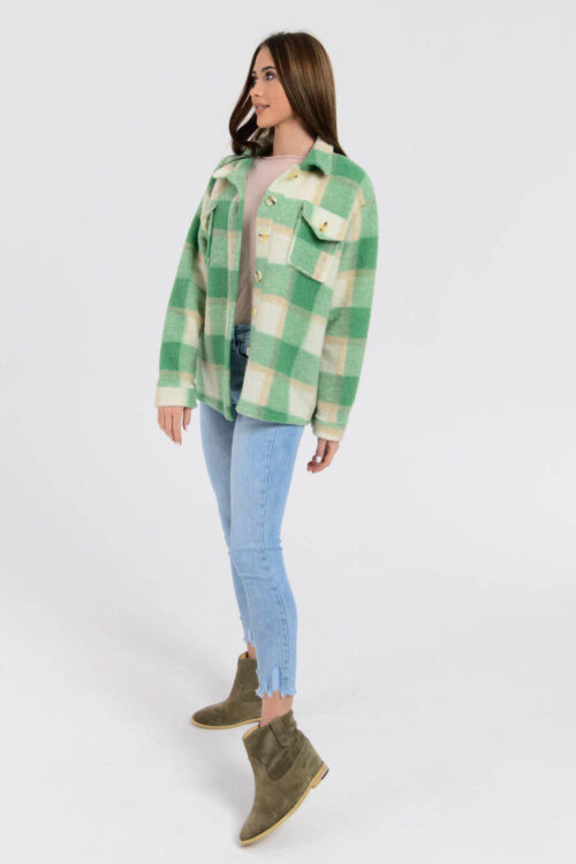 Zielona koszula płaszczyk w kratkę Paront 5