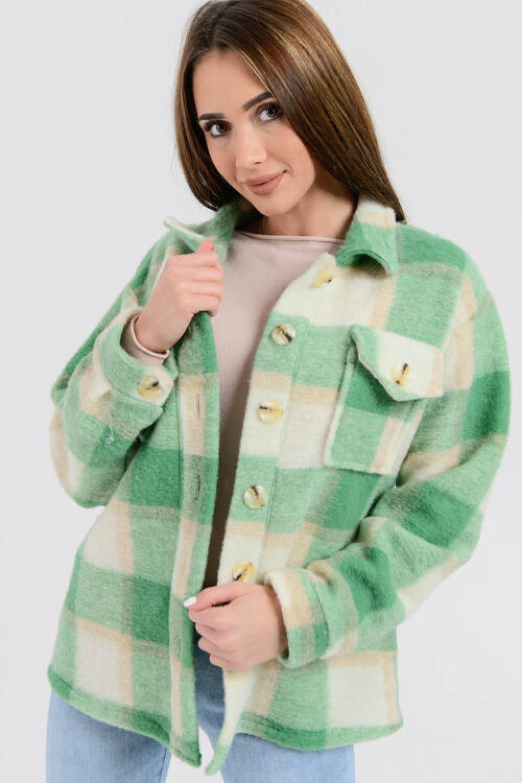 Zielona koszula płaszczyk w kratkę Paront 2