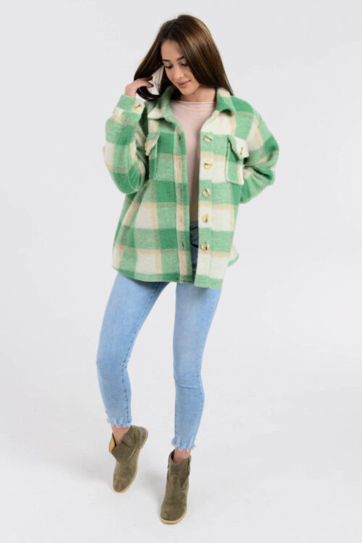 Zielona koszula płaszczyk w kratkę Paront 3