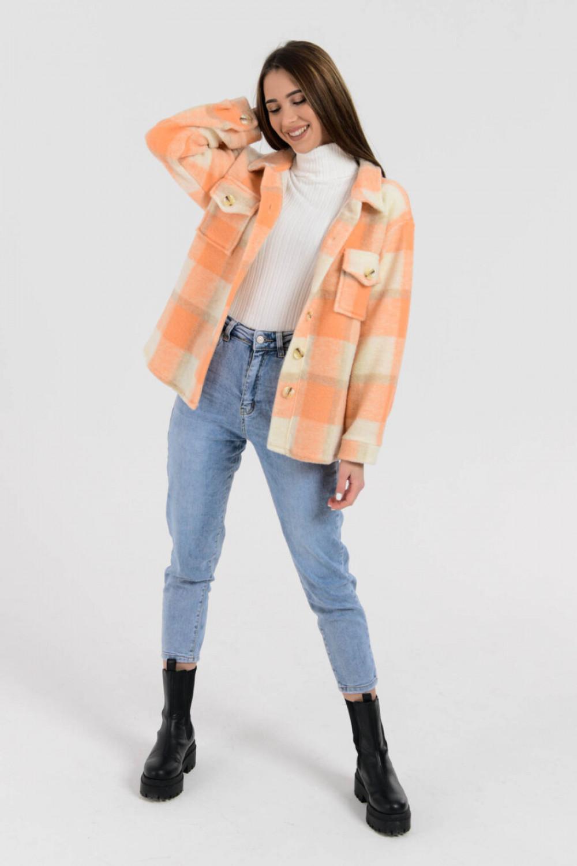 Brzoskwiniowa koszula płaszczyk w kratkę Paront 2