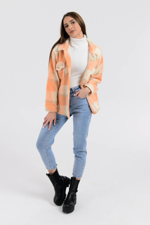 Brzoskwiniowa koszula płaszczyk w kratkę Paront 4