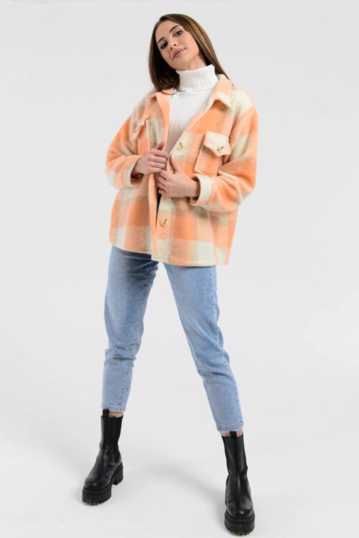 Brzoskwiniowa koszula płaszczyk w kratkę Paront 3