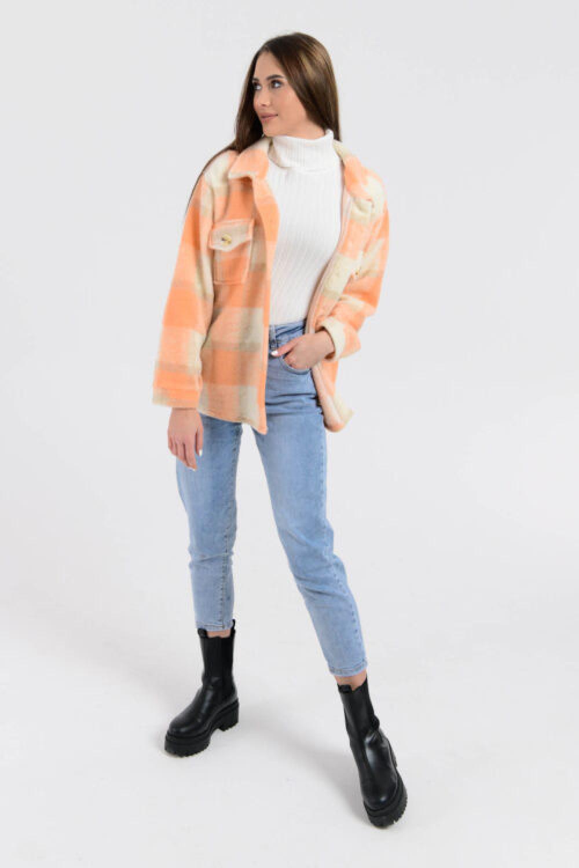 Brzoskwiniowa koszula płaszczyk w kratkę Paront 5