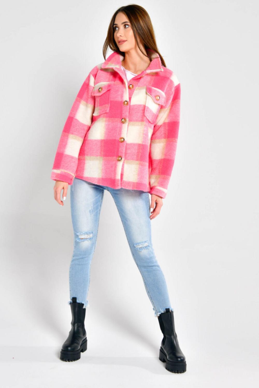Różowa koszula płaszczyk w kratkę Paront 4