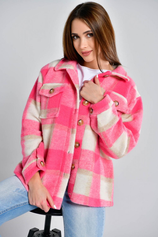 Różowa koszula płaszczyk w kratkę Paront 1