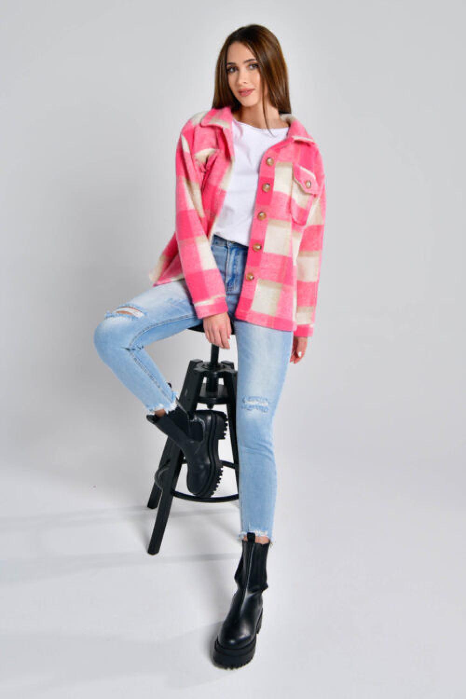 Różowa koszula płaszczyk w kratkę Paront 2